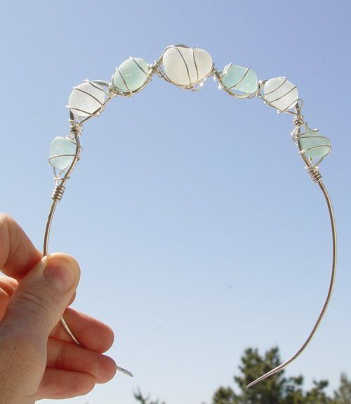 Sea glass makes a beautiful bridal tiara. Non-beachy sea glass wedding inspiration.