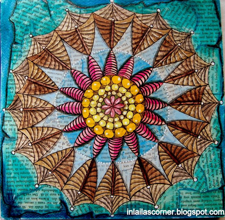 Mandala. Neocolors 2 on top of collaged book papers.