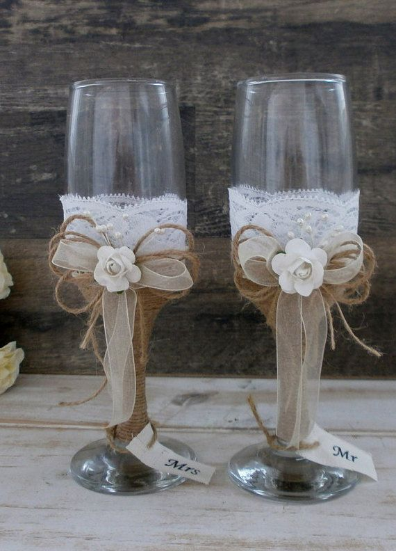 Wedding Glasses Toasting Flutes Champagne by HappyWeddingArt