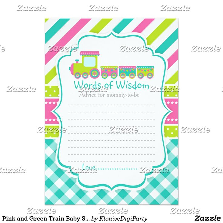 Pink and Green Train Baby Shower Words of Wisdom Card