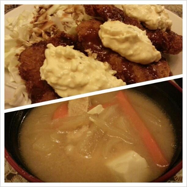 #晩ご飯 #白身魚 の#フライ #タルタルソース と#豚汁 #friedfish w/ #tartarsauce and #tonjiru for #dinner #japanese#food#philippines#フィリピン