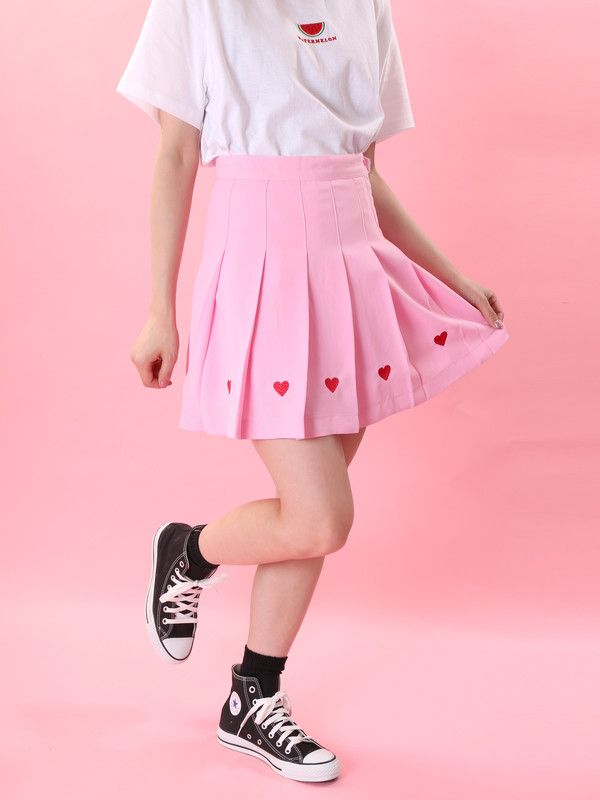 WC/ハート刺繍プリーツスカート(Lピンク)