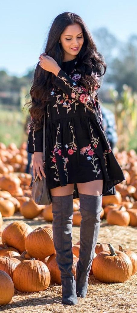 Extra 20% off Storewide  Code: THX20  Ends Nov.10th  Take me away! Reddish-pink flowers top this brooding black as night dress, making it perfect for day to evening wear. Featured by vanessaballi blog