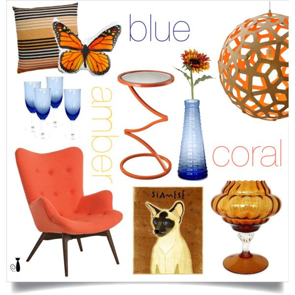 Blue, Coral, Amber by nonamecatvintage on Polyvore featuring interior, interiors, interior design, home, home decor, interior decorating, Pastel, Lazy Susan, David Trubridge and Missoni Home