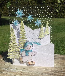 It's Heartfelt Wednesday! Here is the card I made this week.I had fun making a snowy scene and making an acetate card!The idea was the inner of the card completed the picture of the frontof the card