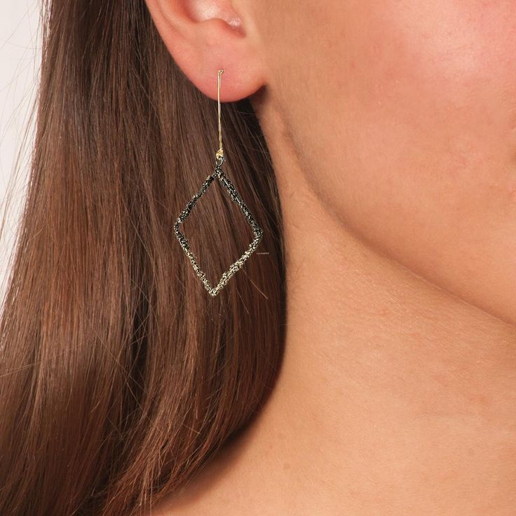 Handmade Bronze Black Sparkling Long Square Earrings - Anthos Crafts