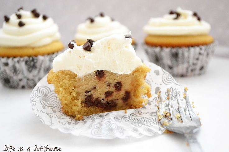 Chocolate Chip Cookie Dough Cupcakes with Classic Vanilla Buttercream Frosting | Life In The Lofthouse