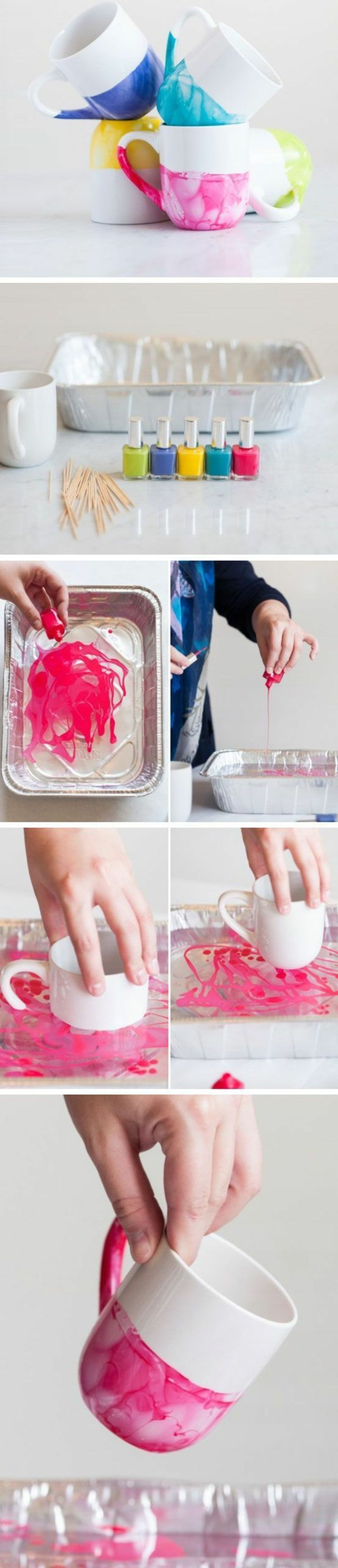 cadeau fête des mères à fabriquer, des tasses à thé customisés, vernis à ongles dans de l eau, projet bricolage cadeau