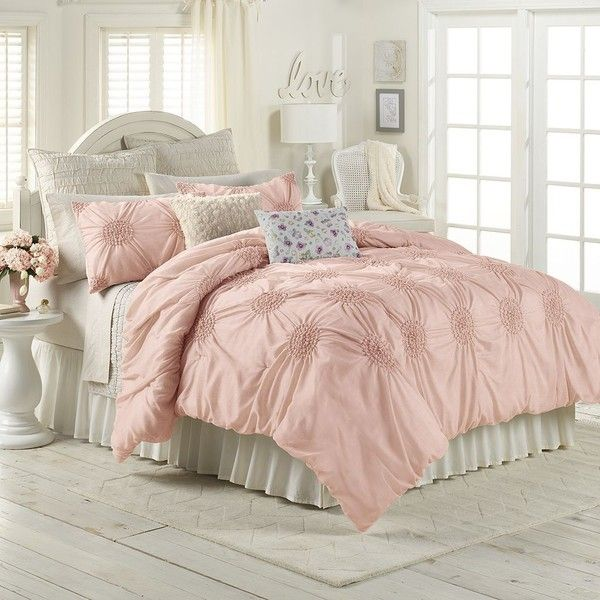 LC Lauren Conrad Eloise Comforter Set, Pink (Rose) (125 CAD) ❤ liked on Polyvore featuring home, bed & bath, bedding, comforters, pink, twin xl comforter set, cal king comforter set, twin comforter, cal king comforter and twin xl bedding