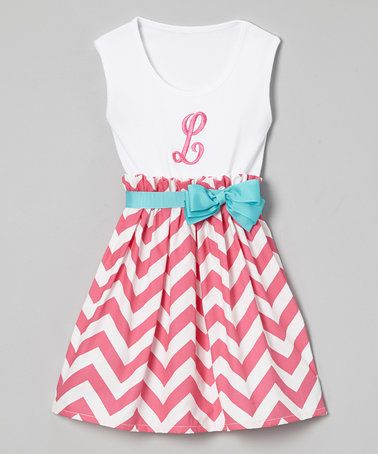 Another great find on #zulily! Pink Chevron Initial Dress - Infant, Toddler & Girls #zulilyfinds