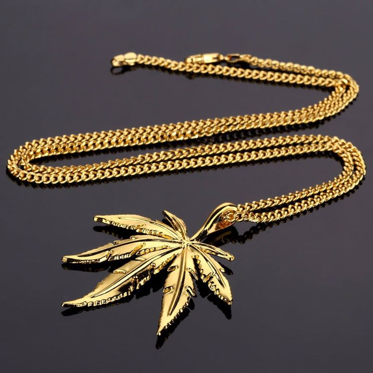 18K gold plated weed leaf pendant and chain for another level of swag. High quality copper and zinc alloy is used for the product in order to have the feel of solid gold chains.    Available payment methods: