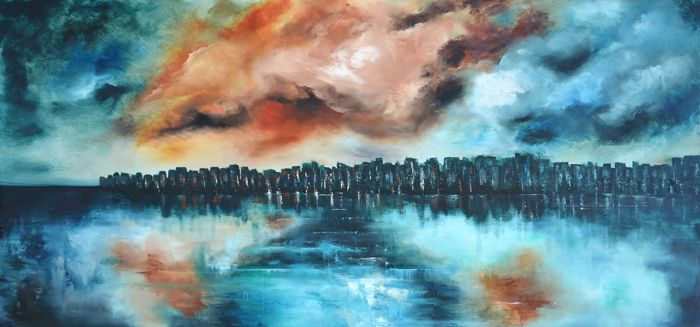 """""""...is coming"""" is an abstractsea painting by Niki Katiki"""