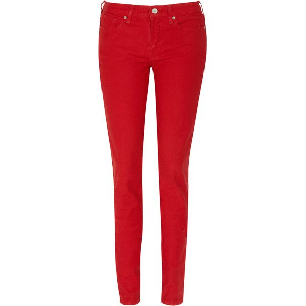 Levi's Made Crafted Empire mid-rise skinny jeans ($81) ❤ liked on Polyvore featuring jeans, skinny fit jeans, red leather jeans, levi jeans, skinny jeans and mid rise skinny jeans