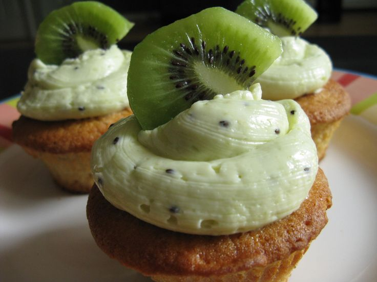 Kiwi vanilla cupcakes with kiwi buttercream frosting. I had one of these recently, SO good!
