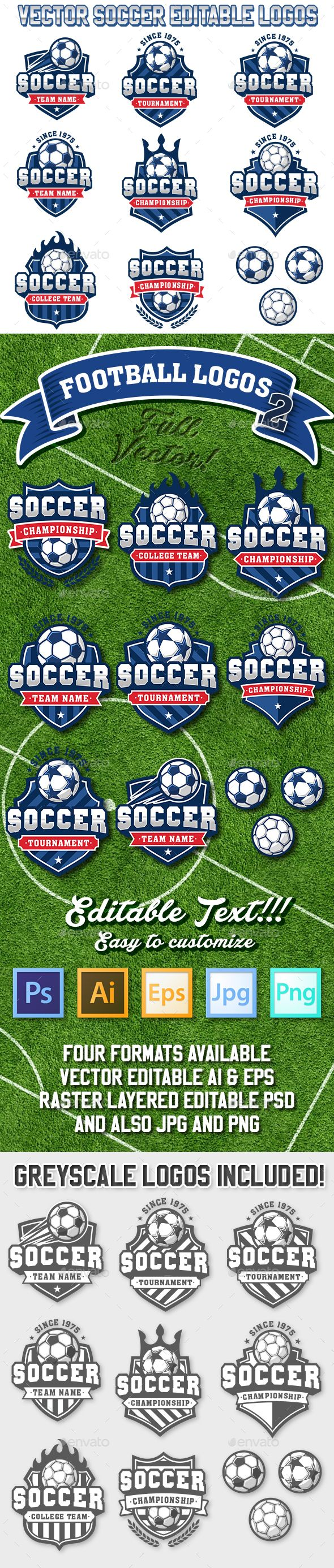 Soccer and Football Logos 2 by Pingebat Collection of eight colorful Vector football or soccer logo and insignias Included in the download are all logos as PSD Hi reso