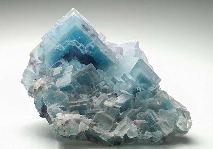 A fine blue specimen of stepped habit Fluorite from Cave-in-Rock Mine, USA.