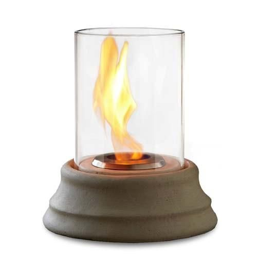 Real Flame Mediterranean Personal Gel Fireplace   - 490. Real Flame Mediterranean Personal Gel Fireplace - 490 Cast concrete base and hurricane glass create an elegant personal fireplace. Burns Real Flame Junior cans. Assembly required. Uses 1-7oz can of Real Flame Gel Fuel sold se.. . See More Table Top Fireplaces at http://www.ourgreatshop.com/Table-Top-Fireplaces-C1031.aspx
