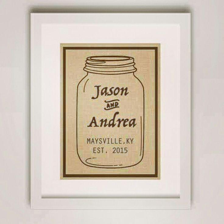 Custom Housewarming or Wedding Gift. Mason Jar Burlap Print.