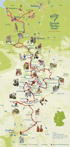 Die Märchenstrasse durch ganz Deutschland - Grimm Brothers Fairytales Route Map through Germany