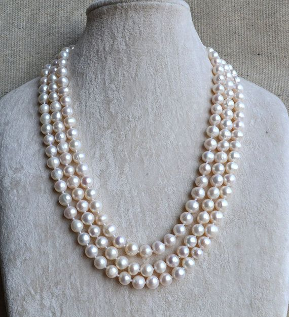long pearl necklace,61 inches 8-9mm freshwater White Pearl necklace,wedding necklace,free shipping