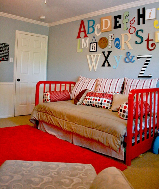 neat-o alphabet wall: Playrooms Wall, Alphabet Wall, Blue Wall, Plays Rooms, Boys Rooms, Alphabet Letters, Abc Wall, Baby Rooms, Kids Rooms