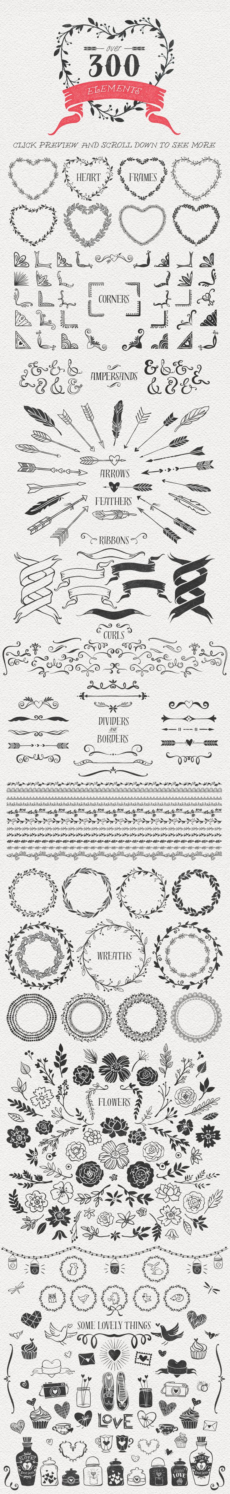 Hand Drawn Romantic Decoration Pack by kite-kit on Creative Market