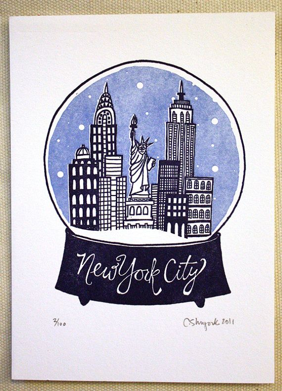 New York City Snowglobe State Series  Letterpress Print by 1canoe2, $15.00
