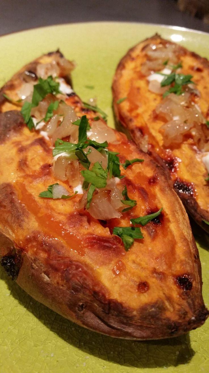"""La patate douce rôtie de Manue du blog """"Musée gourmand"""" inspirée du blog """"Cuisons en couleurs"""""""