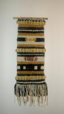 telar contrastes y madera telar tapiz mural lana oveja,fibras naturales,madera telar de bastidor