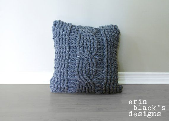 Chunky Cable Twist Crochet Pillow Cover Pattern by Erin Black's Designs on Etsy