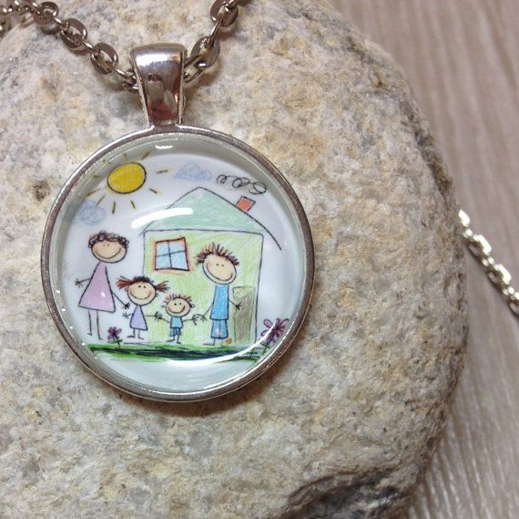 Custom Child's Drawing Necklace - Picture Necklace - Custom Pendant - Personalized Necklace - Photo Jewelry - Gift - Keepsake -Round Pendant