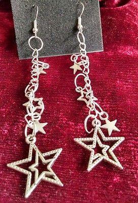 Hollywood Tonight Designer Sterling Silver 925 Stars Dangle Pierced Earrings