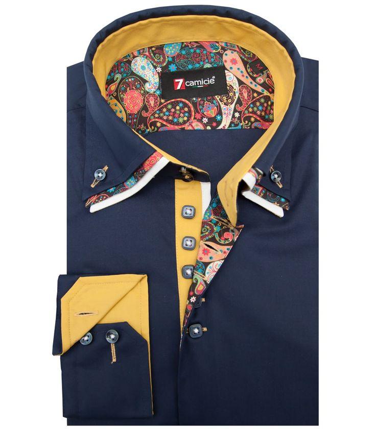 Hemden Mann langärmelige Slim Stretch-Popeline Ebene Blau