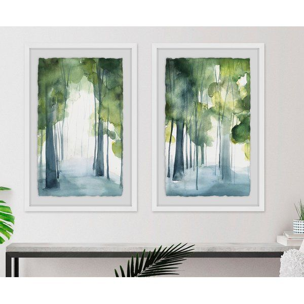 Through The Haze Diptych 2 Piece Framed Watercolor Painting Print Set Painting Diptych Artwork