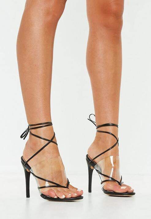 d7d256400b9 HOLIDAY FASHION 2018  Black Clear Strap Lace Up Heeled Sandals ...