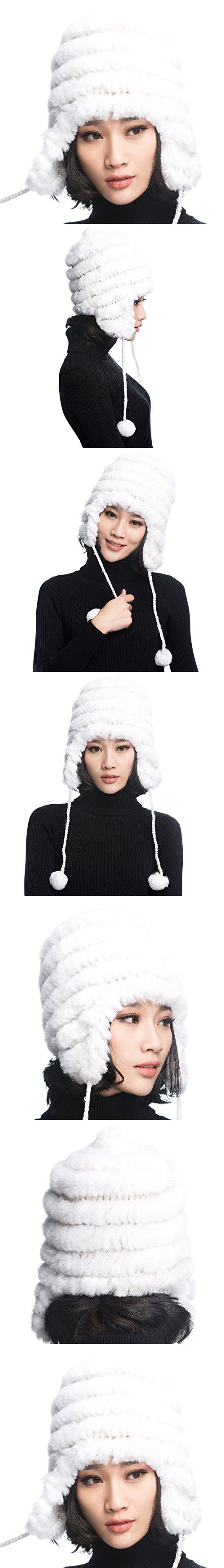 URSFUR Women's Rex Rabbit Fur Hats Winter Ear Cap Flexible Multicolor (White)