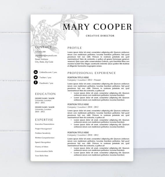 Modern resume Professional resume template CV by AAAResume on Etsy
