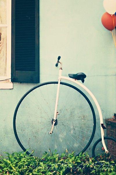 Vintage bicycle with balloons, prettypetalstudio