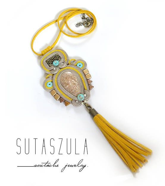 Tassel boho beige yellow turquoise necklace soutache colorful