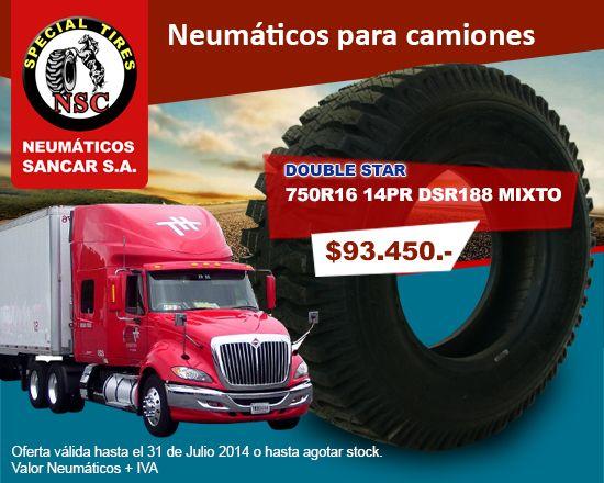 Neumático para camiones: 750R16 14PR DSR188 MIXTO  marca DOUBLE STAR Precio: $93.450.-  www.sancar.cl – ventas@sancar.cl - Antillanca 560 módulo 5 Lo Boza Pudahuel - Teléfono +56226890505 | Bascuñán Guerrero 540 Santiago - Teléfono +56226891266