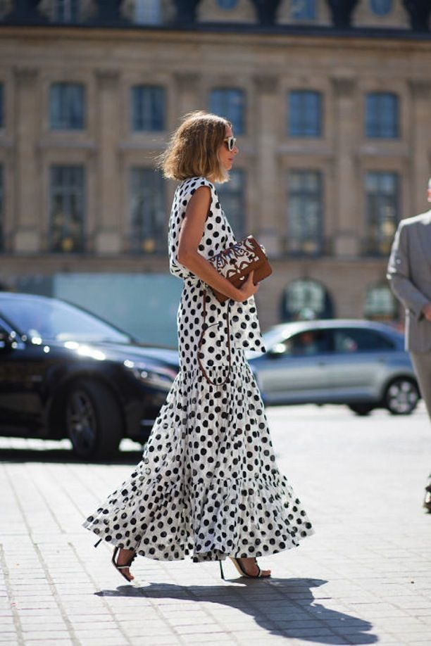 Paris Couture Street Style   polka dot maxi dress, contrasting clutch and stilettos