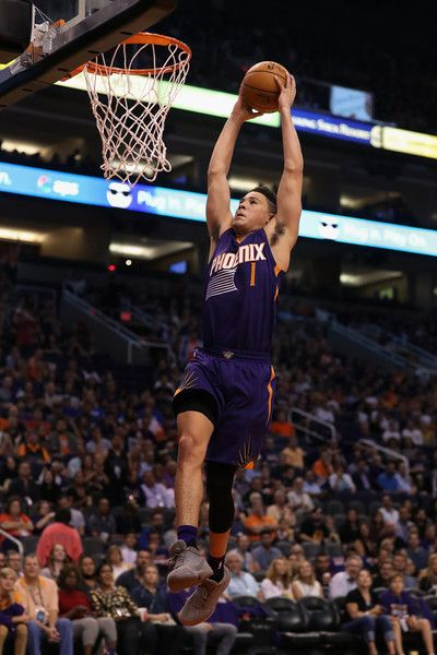 Devin Booker #1 of the Phoenix Suns slam dunks the ball against the Sacramento Kings during the second half of the NBA game at Talking Stick Resort Arena on October 26, 2016 in Phoenix, Arizona. The Kings defeated the Suns 113-94.  NOTE TO USER: User expressly acknowledges and agrees that, by downloading and or using this photograph, User is consenting to the terms and conditions of the Getty Images License Agreement.