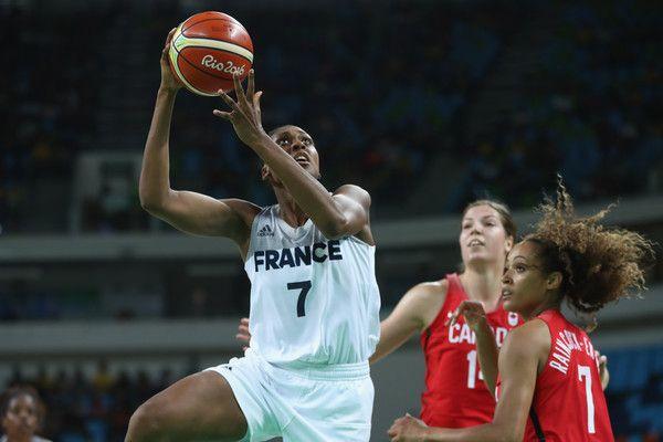 Sandrine Gruda of France shoots  during the Women's Quarterfinal match between…