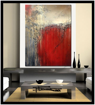 HUGE MODERN ABSTRACT PAINTING CANVAS WALL ART 48 x 36....READY TO HANG! HIGH END