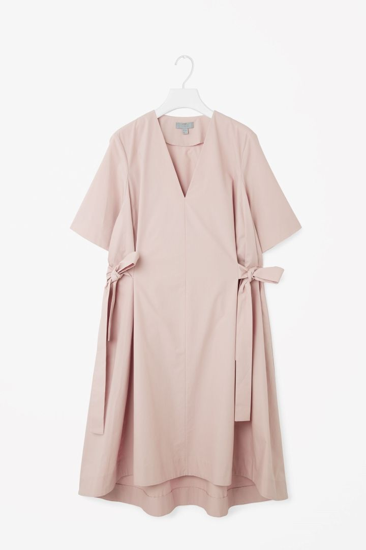 COS image 9 of V-neck dress with tie belts in Pale Pink