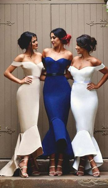 Mermaid Bridesmaid Dress,Satin Off-the-Shoulder Prom Dresses,Bridesmaid Dress,Bridesmaid Dresses