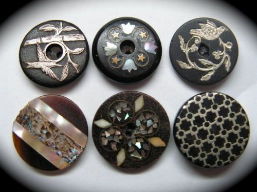ANTIQUE-BUTTONS-6-HORN-BONE-COMPOSITION-w-SILVER-BRASS-PEARL-INLAYS-BIRDS