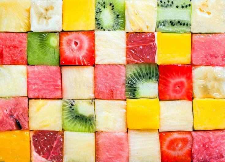 Background pattern and texture of fruit cubes. Photo about color, salad, green, nutrition, refreshment, food, grapefruit, cuisine, kiwifruit, fresh, apple, melon, fruit - 39904725