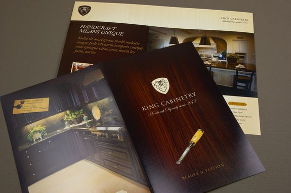 Elegant Cabinetry Brochure Template - This brochure is appropriate for a cabinetry company or interior design firm striving to provide customized spaces for every client. The elegant aesthetic uses a wood background and ornate type to convey a feeling of genuine quality.