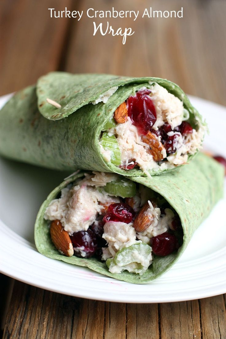 Turkey Cranberry Almond Wrap--perfect lite recipe to use up your Thanksgiving leftovers!